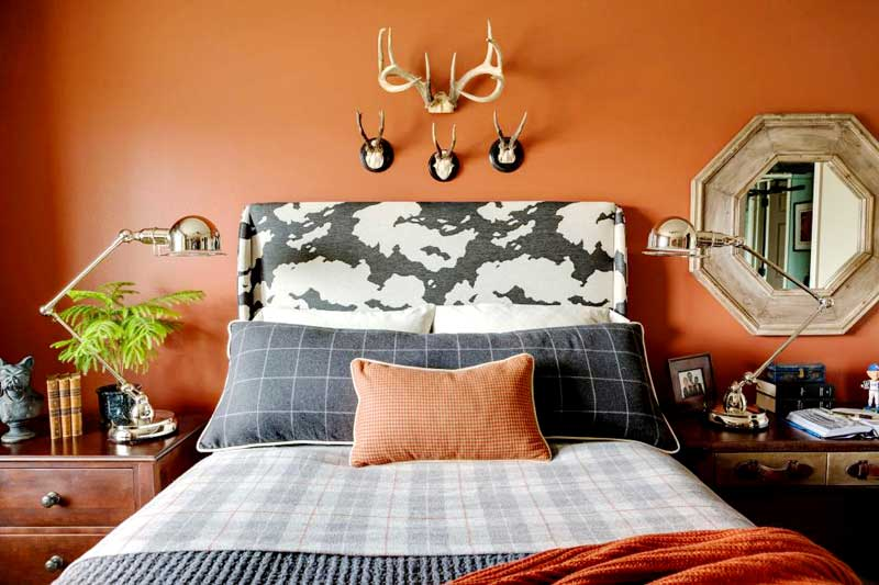 Orange Bedroom With Plaid Bedding