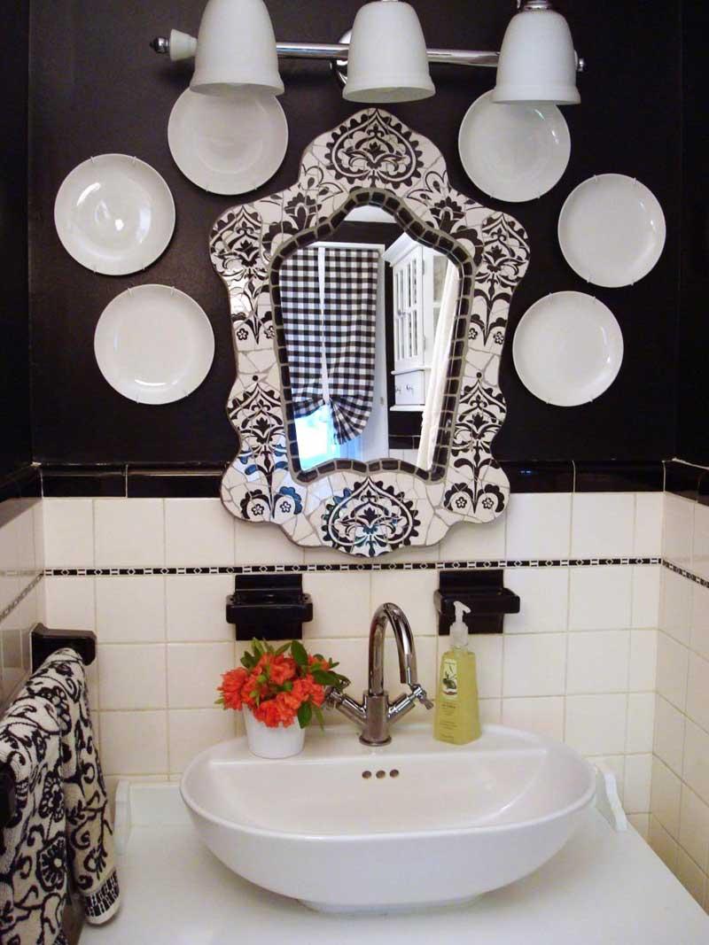 Ornate Black and White Mirror