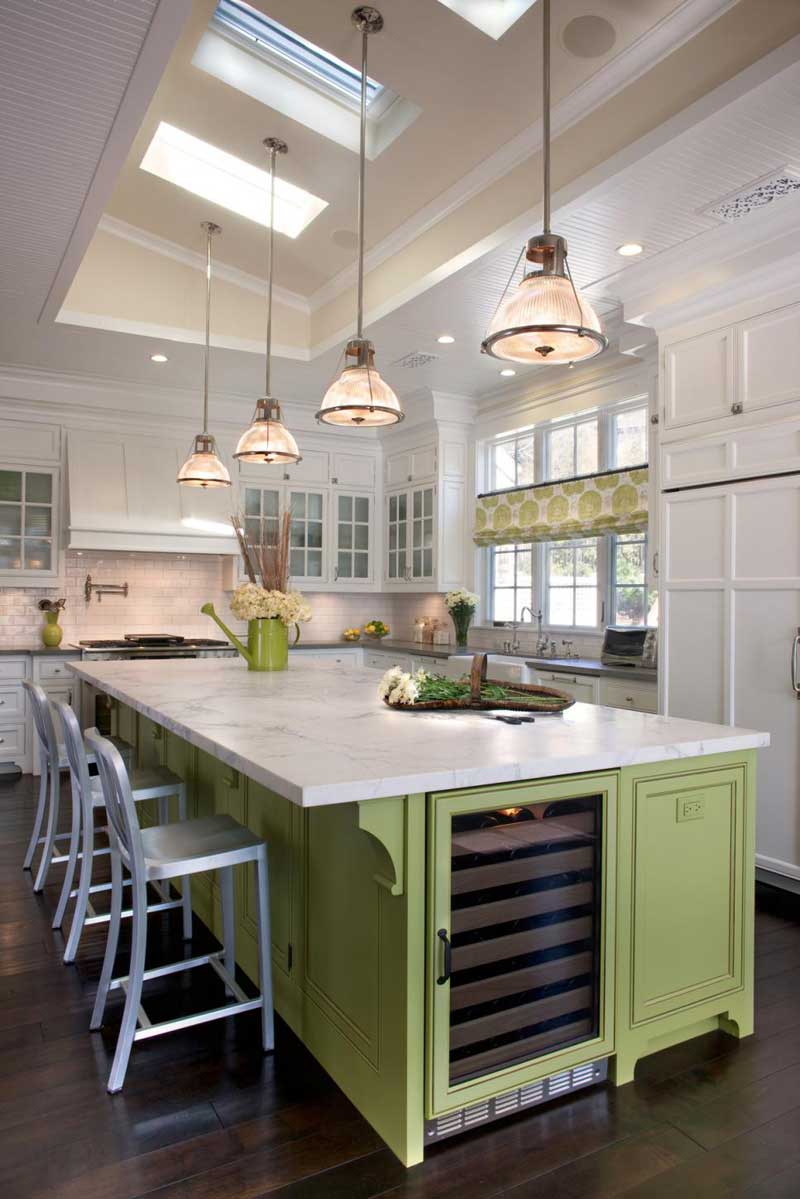 Painted Kitchen Island With Pendant Lights