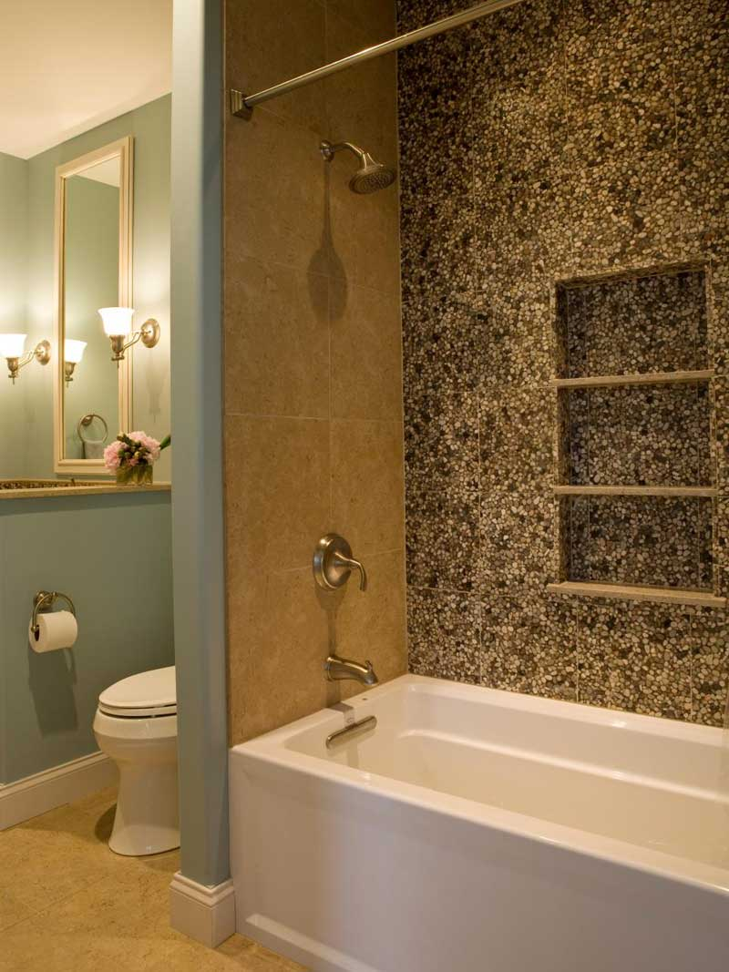 Bathroom with Pebble Tile Wall