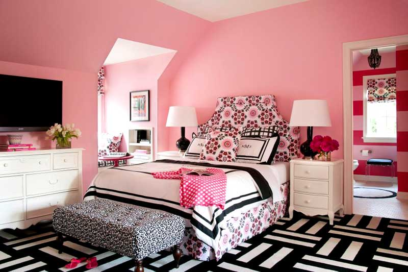 Pink Teenage Girl Bedroom With Black and White Rug