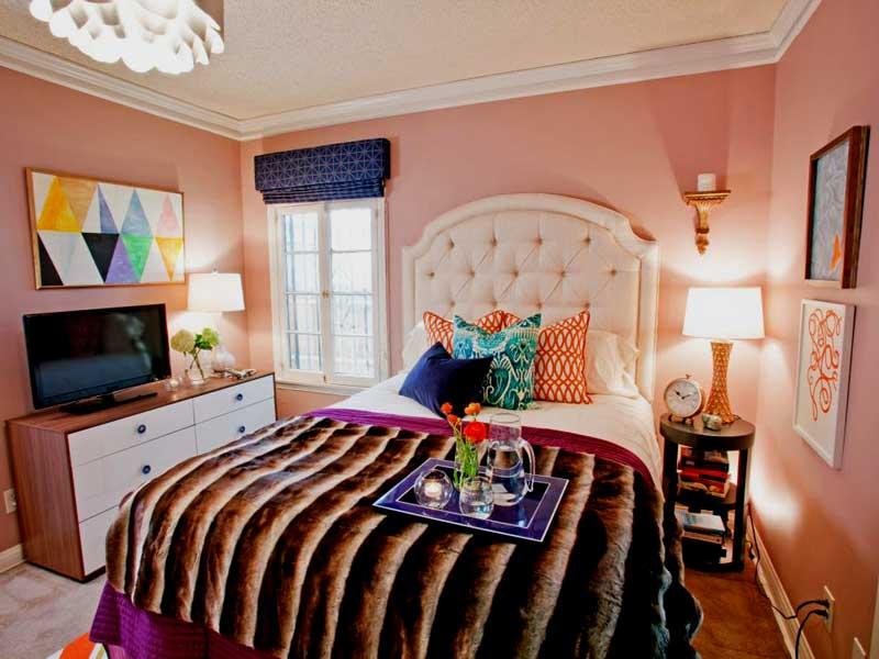 Pink Teenage Girl Bedroom With Faux Fur Throw