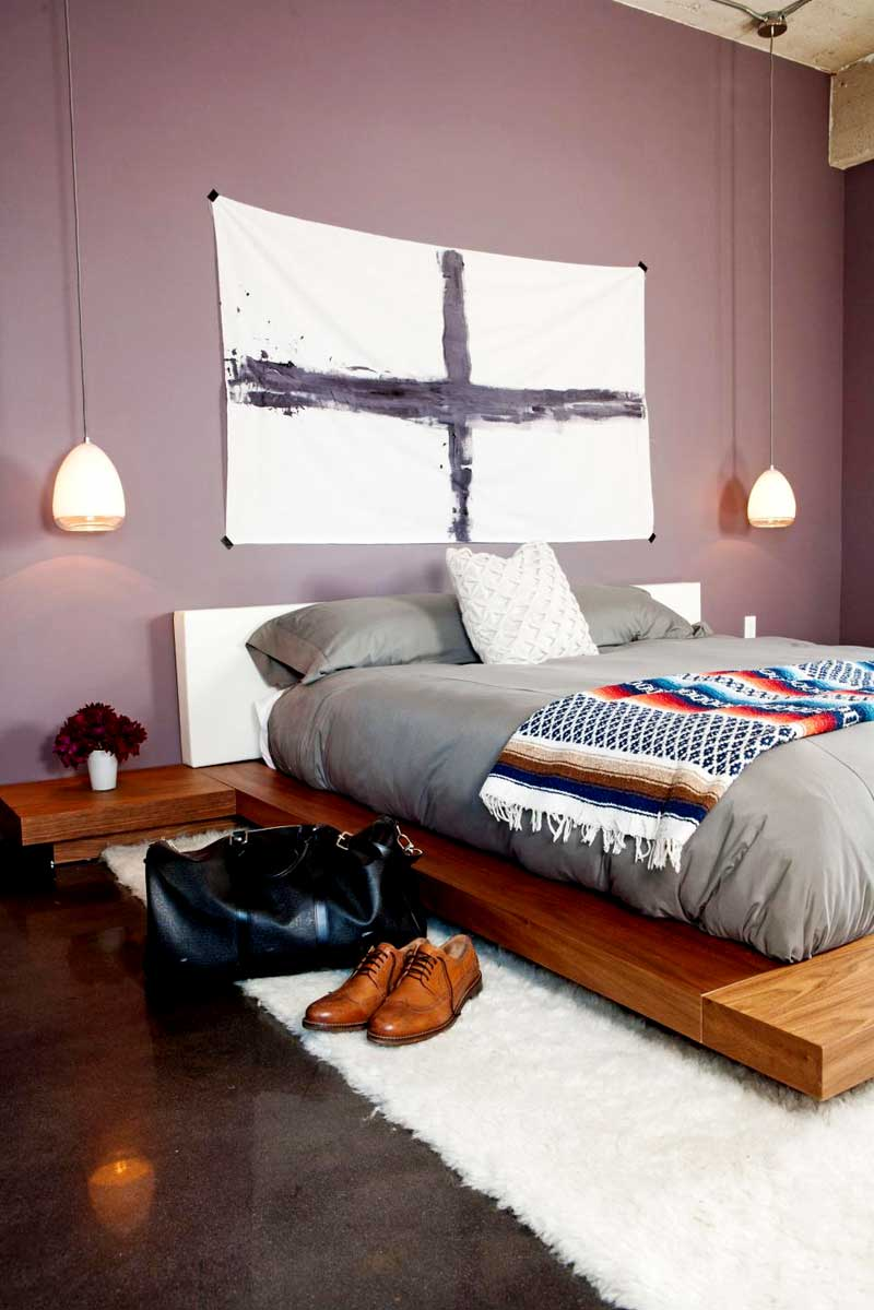 Purple Bedroom With Gray Bedding