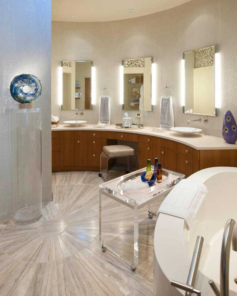 Bathroom with Radial Marble Floor Tile