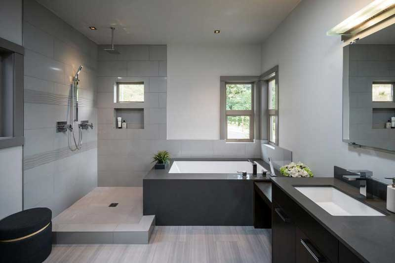Bathroom with Wavy Gray Tile