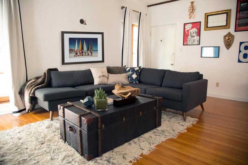 White Living Room With Black Sofa Part 85