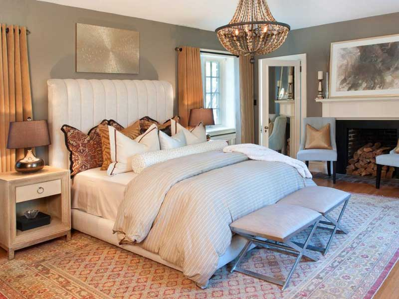 White and Gold Bedroom color schemes