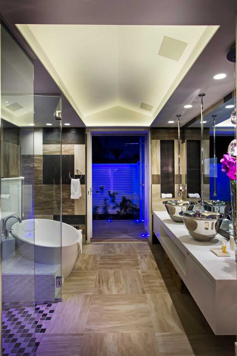 Bathroom with Woodgrain Tile Floor