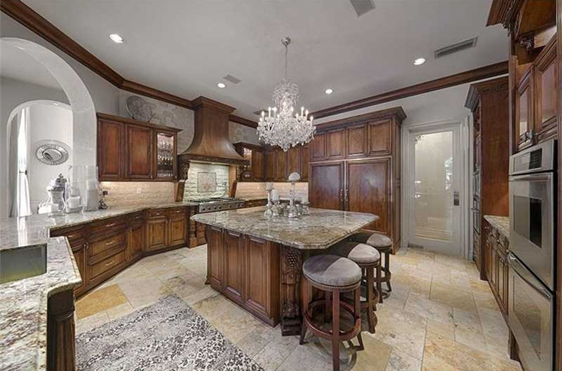 Kitchen Island with 12 Light Crystal Chandelier