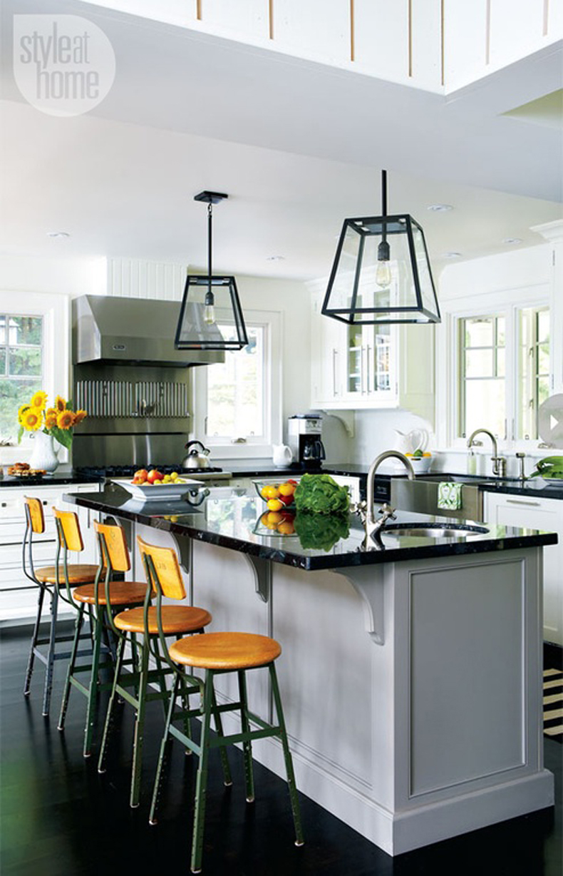 Kitchen Island with Cube Box Frame Pendant