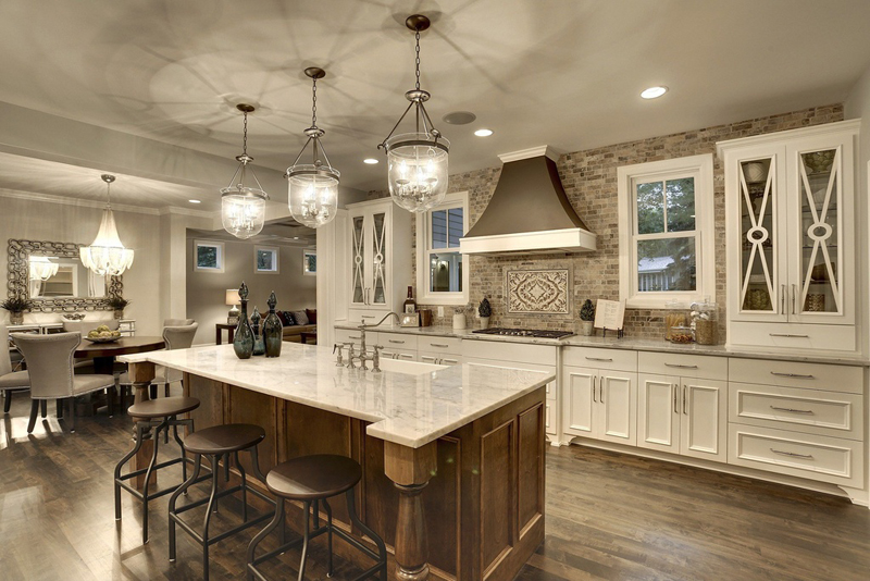 Kitchen Island with Nickel Brushed Pendant