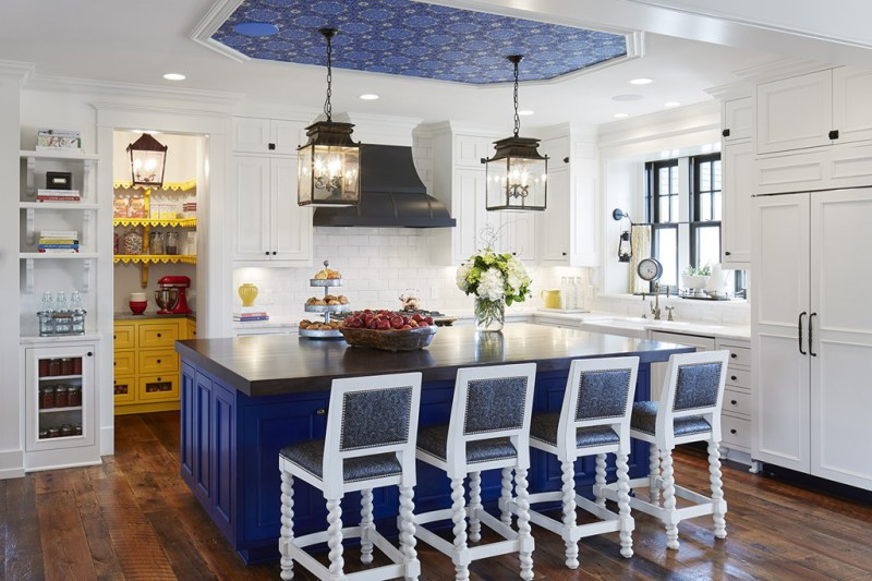 200 beautiful white kitchen design ideas that never goes out of style white kitchen with white bar stools and reclaimed oak flooring kitchen with lantern pendant lights aloadofball Images