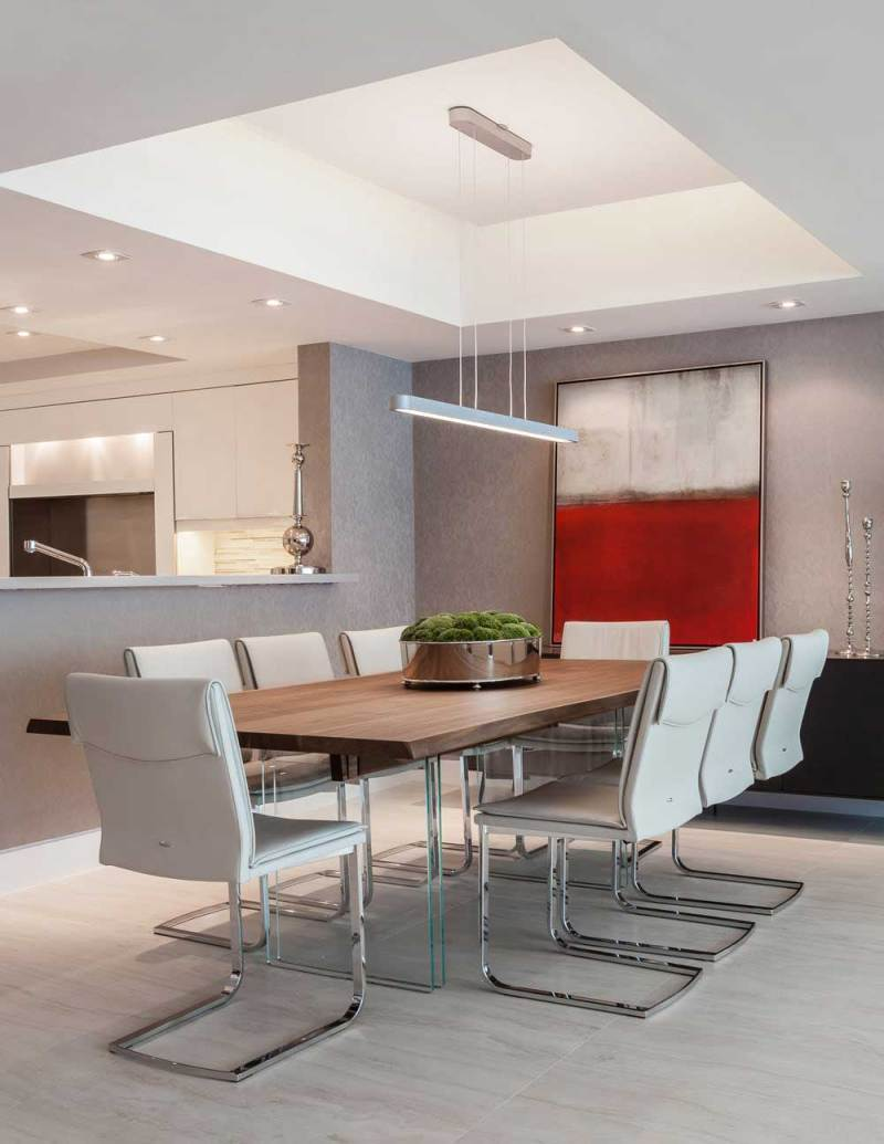 modern dining room with square linear pendant light fixture