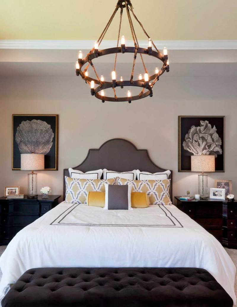 bedroom with 2 tier candle chandelier lighting