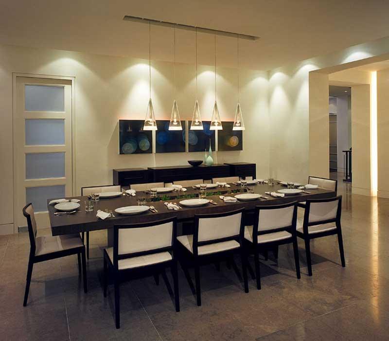 Modern Dining Room With Glass Tube Pendant Light