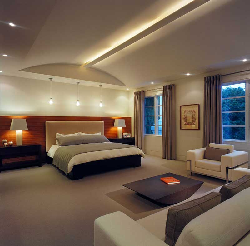 modern bedroom with led and pendant light