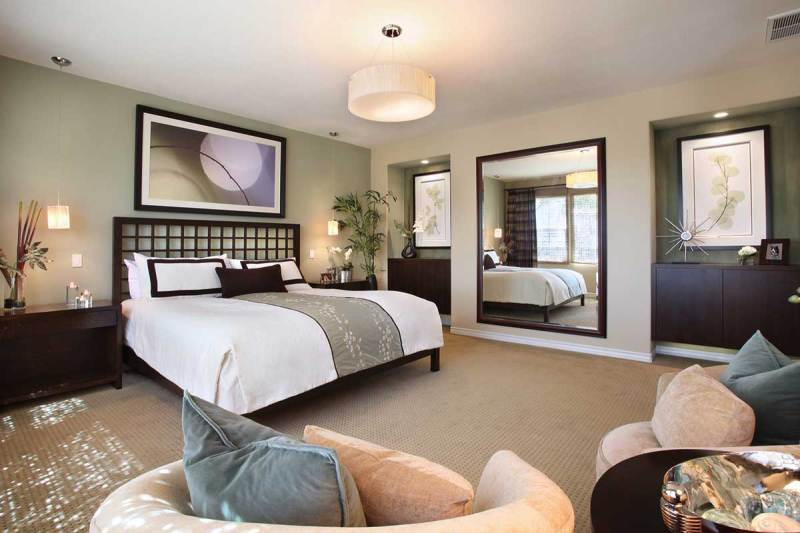 master bedroom with drum pendant lighting