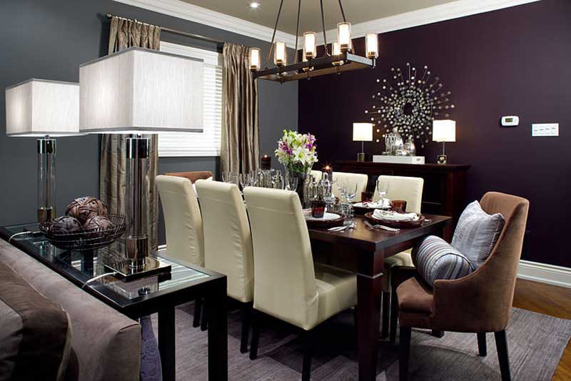 purple dining room with pendant light and table lamps