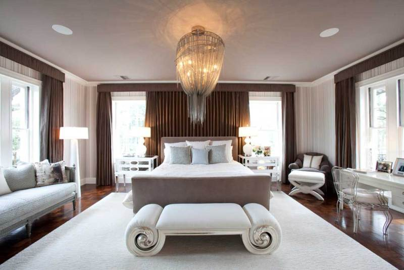 master bedroom with mother chandelier