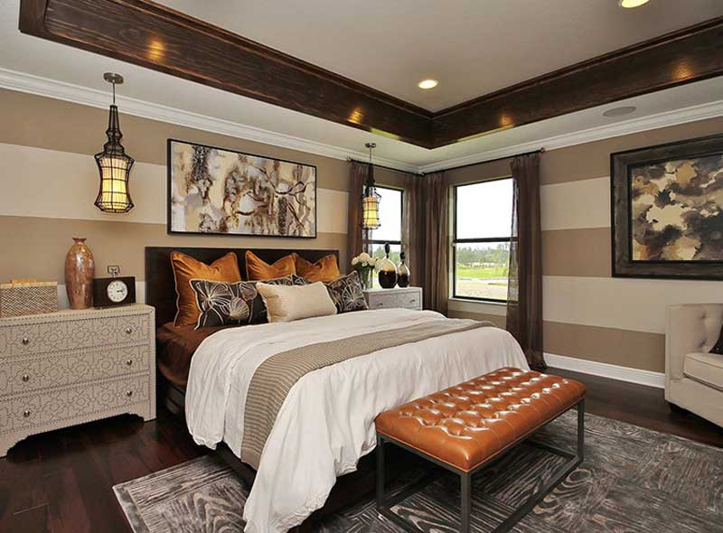 master bedroom with lantern pendant light