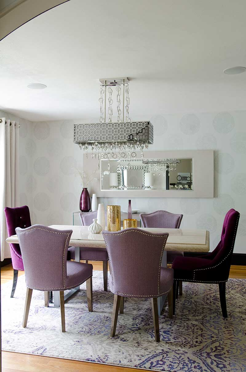 purple dining room with rectangular glass droplets chandelier