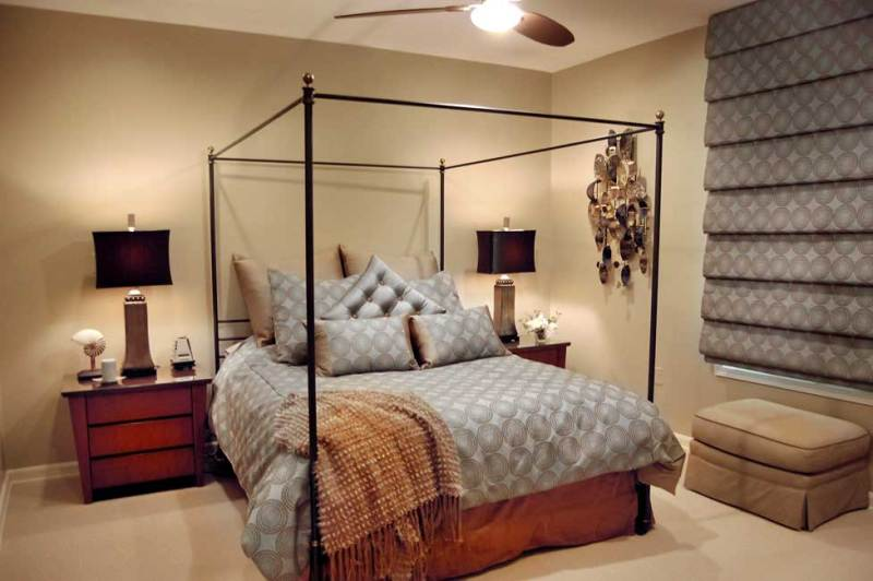 master bedroom with brown table lamps