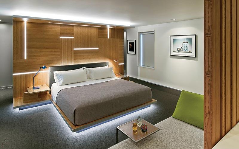 modern bedroom lighting. Designer Bedroom Lighting. Modern-bedroom-with-rope-lighting Lighting Modern
