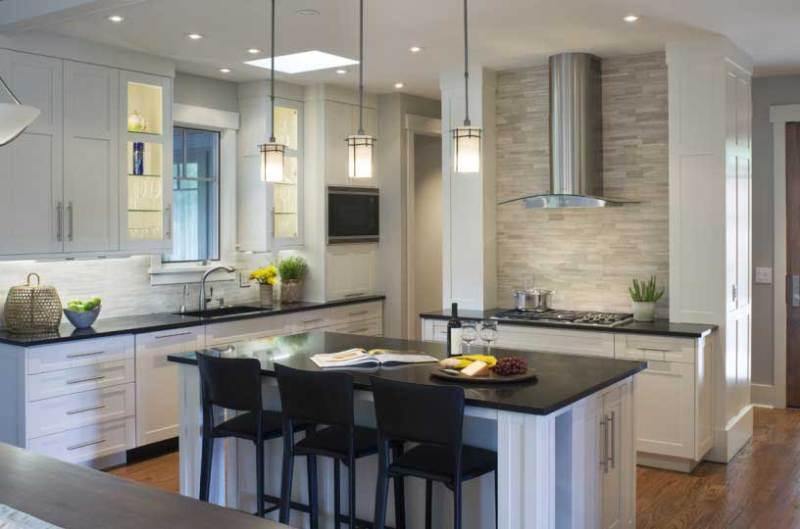 kitchen with white tube pendant light