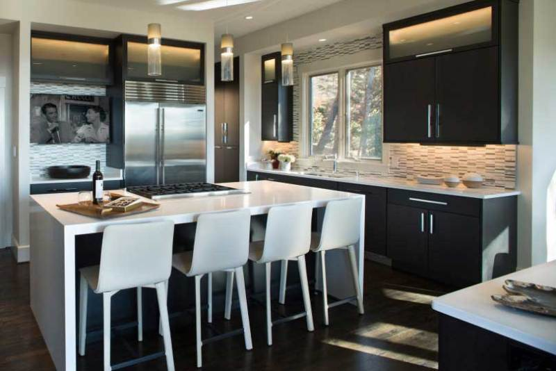 kitchen with glass tube pendant lighting