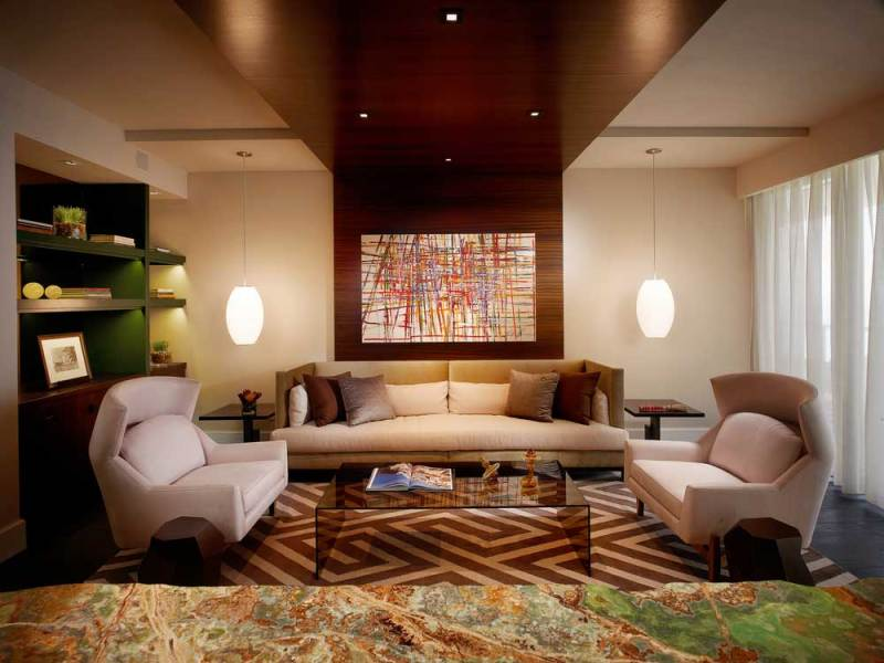 modern living room with white pendant lights