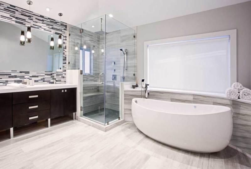 bathroom with glass tube pendant light