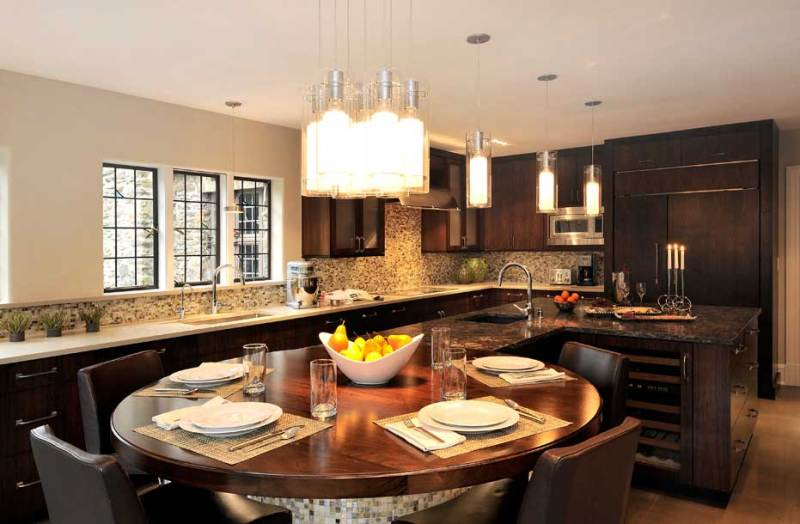 kitchen with pendant tube light fixture