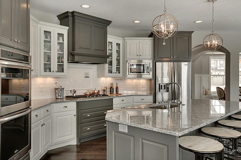 Gray Cabinets With Moon White Granite Countertops