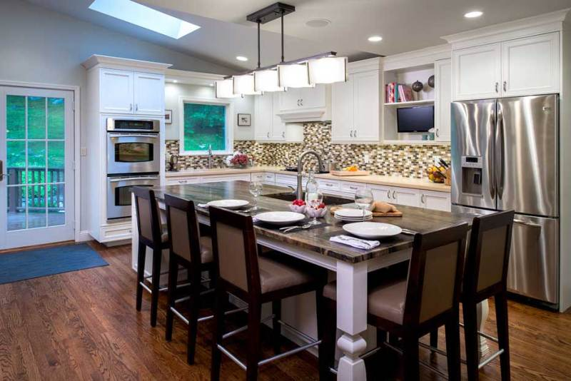 kitchen with led pendant light fixtures