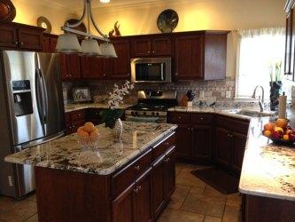 granite countertops kitchen cabinets cherry delicatus colors brown kitchens homeluf mydesign