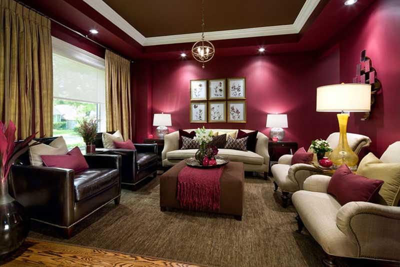 dark purple living room with orb pendant lights
