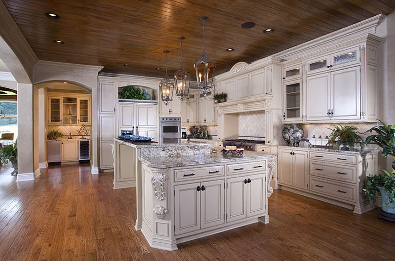 Country kitchen with alpine white granite countertops