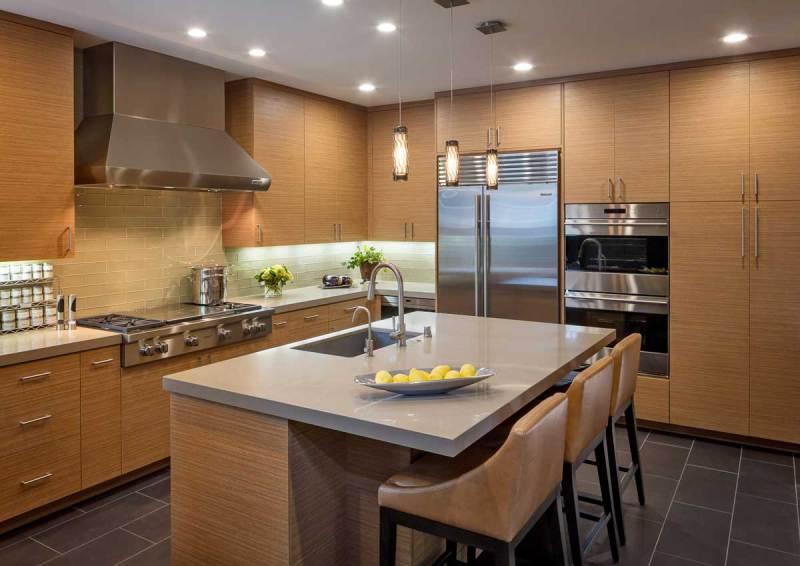 kitchen with glass tube mini pendant light