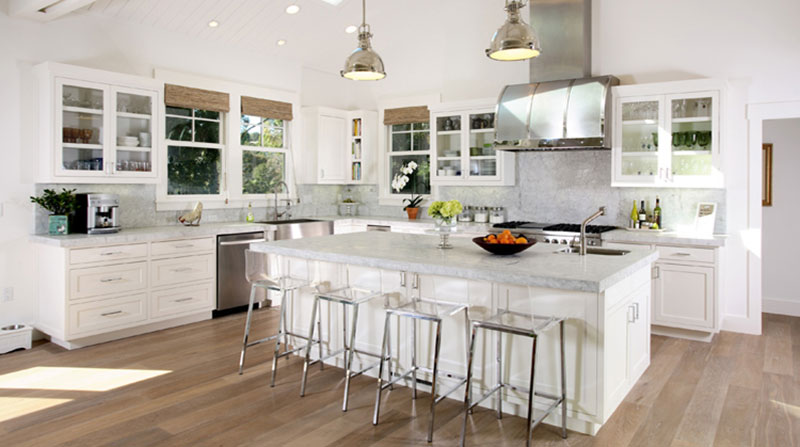 Classic White Kitchen With Princess White Granite Countertops