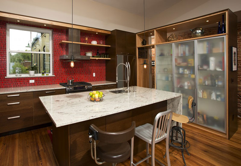 Contemporary kitchen with valley white granite countertops