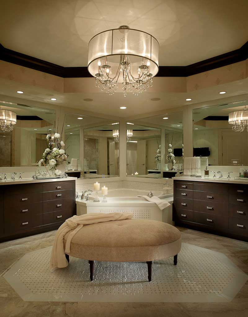 transitional bathroom with drum shade crystal chandelier