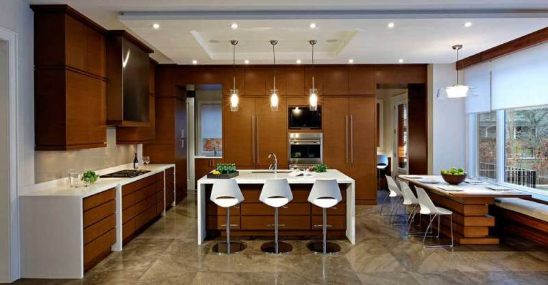 Kitchen With Glass Tube Pendant Light Fixtures