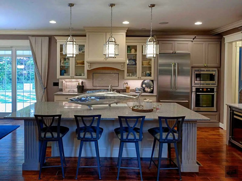 kitchen with foyer pendant light fixtures