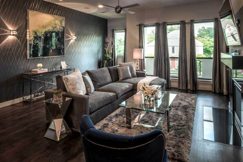 gray living room with led wall sconce fixtures