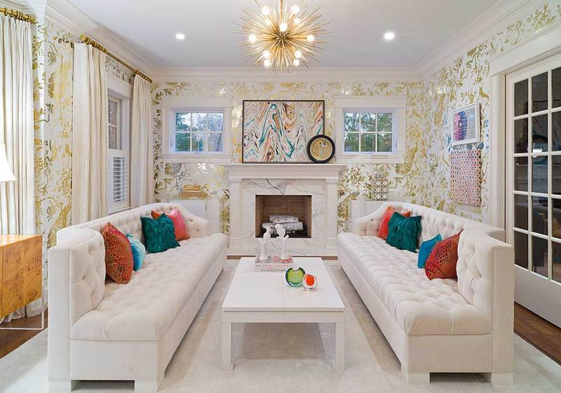 small living room with burst chandelier