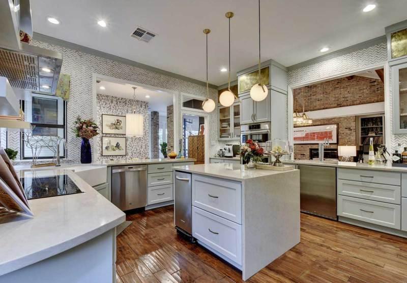 kitchen with matte white globe pendant light