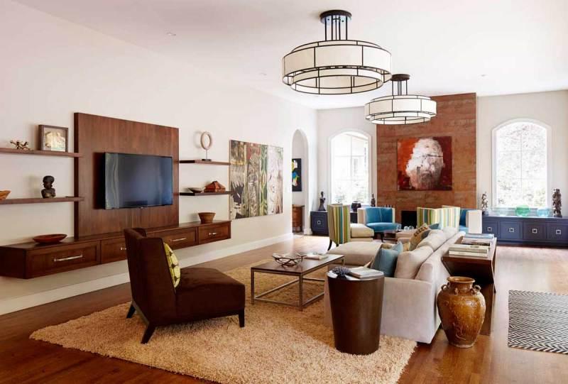 living room with modern drum pendant light