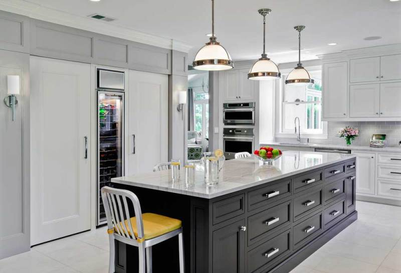 black kitchen lighting. Black White Kitchen With Satin Nickel Pendant Lights Lighting K