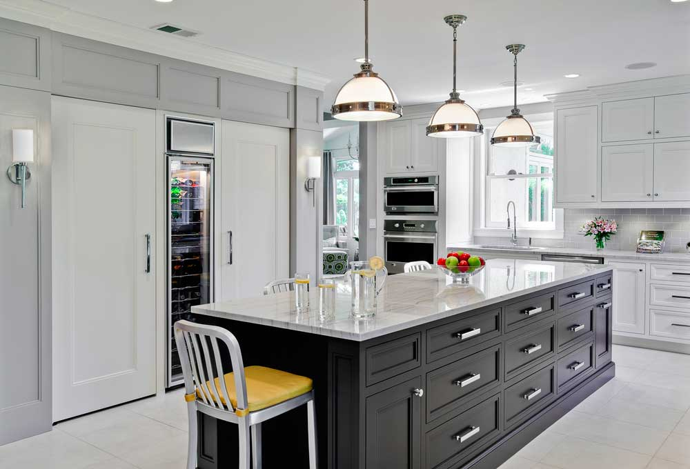 Black White Kitchen With Satin Nickel Pendant Lights