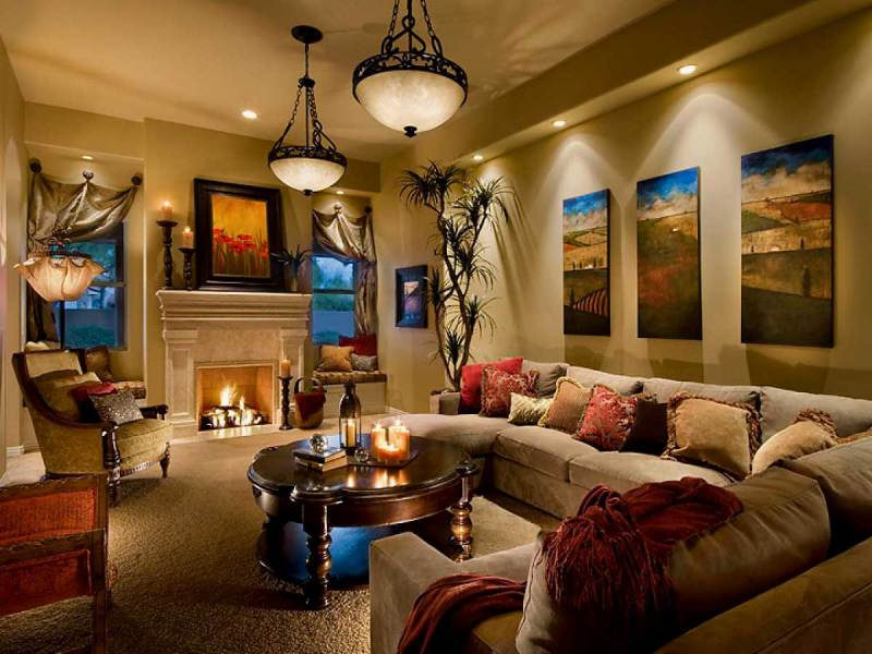 living room with candle lighting
